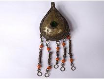 Pendant Bermil pear silver metal cabochon coral Zaïane Morocco XXth