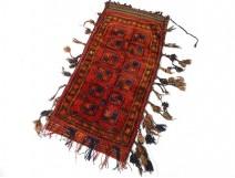 Afghan saddle cloth bag knotted wool Middle East Turkestan nomads twentieth