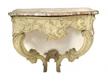 Louis XV console table carved lacquered marble shell breach eighteenth century