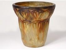 Glass paste vase G. Argy-Rousseau palm leaves palm Art Deco twentieth