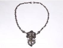 Sterling silver Saint-Esprit necklace rhinestone dove XIXth dove