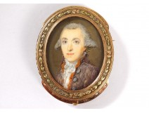 18K solid gold miniature brooch painted 18th century Paris aristocrat portrait