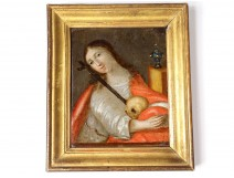 Small HSC painting portrait Sainte Marie Madeleine penitente 18th century vanity