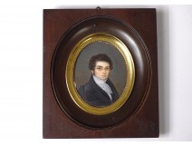 Painted miniature portrait of a notable young man with glasses Desnoyers Rennes 19th