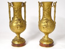 Pair of gilt bronze vases F. Barbedienne musician shepherdess lizard marble XIXth