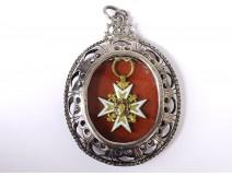Medal Order Knight Saint-Louis solid gold enamel silver frame XVIIIèm