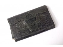 Leather wallet Souvenir engravings castles Germany calendar XIXth