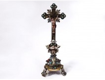 Small crucifix Christ cross enameled bronze turquoises Austria Vienna XIXth
