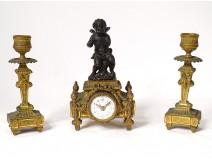 Small pendulum candlesticks gilt bronze cherub flowers clock node XIXth
