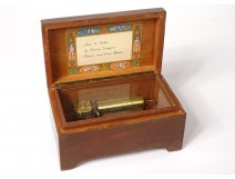Wooden music box Reuge Sainte-Croix Switzerland 3 tunes Waltz early twentieth