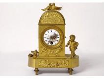 Clock gilt bronze Cythère birds cherub horn abundance Empire XIXth