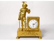 Gilt bronze Empire clock Musketeer sword griffins Le Roy Paris XIX
