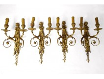 Series 4 sconces 2 lights gilt bronze Amours trumpet from ap. Jean Hauré XIXth