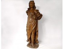Sculpture carved wooden statue Saint-Jean Baptiste XVIIth century