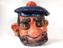 Large carnival head mask papier mache marine character XIXth century