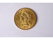 Gold coin 10 US dollars America United States Liberty Aigle 1899 Philadephie
