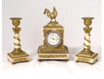 Clock candlesticks white marble gilt bronze rooster flowers capitals XIX