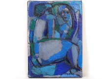 Small HST painting Jean Jacques Deschamps woman the Contemporary Mirror XXth