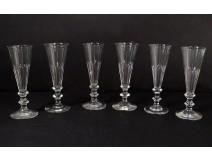 Series 6 champagne flutes cut crystal Saint-Louis model Caton XIXth