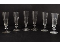 Series 6 champagne flutes cut crystal Saint-Louis model Caton XIXth