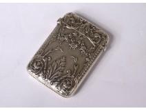 Small match box silver metal flower Art Nouveau foliage 19th