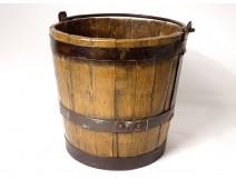Bucket old oak wood wrought iron nineteenth century