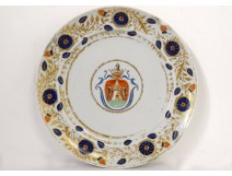 Dish porcelain plate Compagnie des Indes coat of arms with wolves coat of arms 18th century