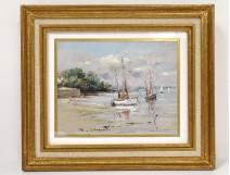 Pastel painting boats port Brittany Morbihan Philippe Girardot 20th century