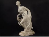Plaster sculpture Gustave Gillot deer woman Diane Artémis Actéon 20th century