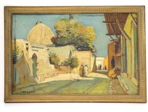 HSP orientalist painting view village Mosque Casbah Maghreb Morocco XIXth