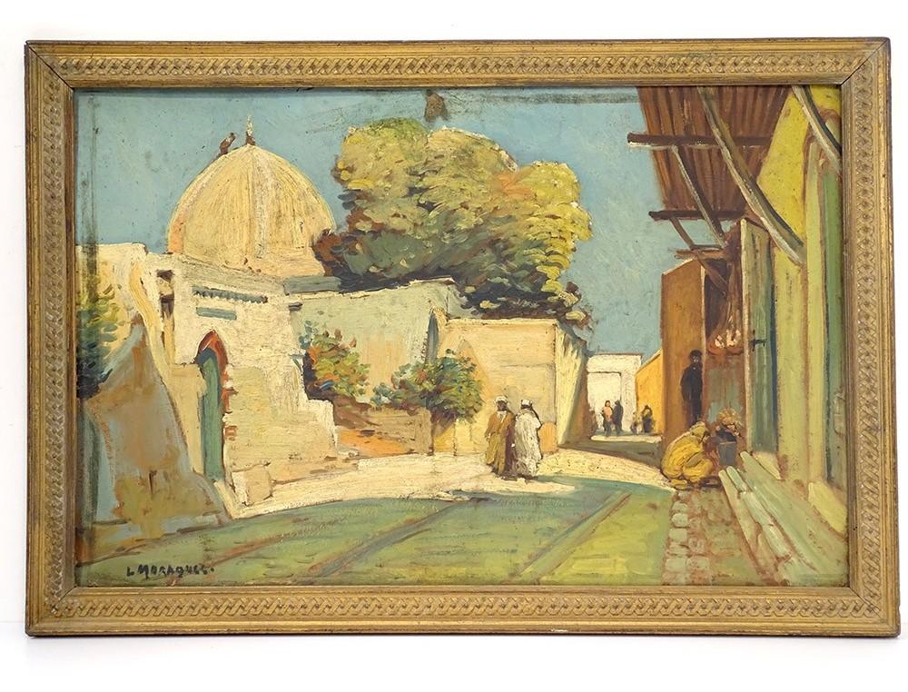 Hsp Tableau Orientaliste Vue Village Mosquee Casbah Maghreb Maroc Xixeme