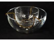 Baccarat France crystal golden metal caviar service twentieth century