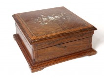 Jewelry box marquetry rosewood mother-of-pearl brass Napoleon III XIXth