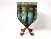 Blown glass vase André Delatte Nancy Art Deco wrought iron frame twentieth