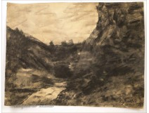 Charcoal Jura River Landscape by August 19th Pointelin