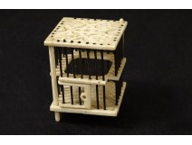 Small ivory miniature cricket cage carved China XIXth century