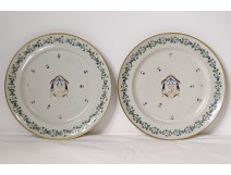 Pair of East India Company porcelain dishes Barbeaux coat of arms 18th