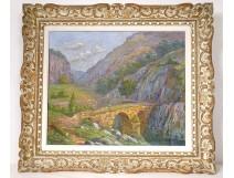 HST landscape painting Arrufat cévennes Thueyts Ardèche Pont Percé XXth