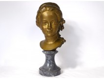 Gilt bronze bust sculpture young girl Gromella marble Art Nouveau XIXth
