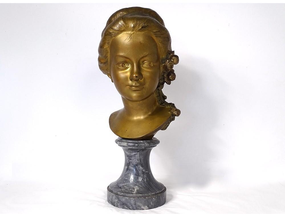 Gilt bronze bust sculpture young girl Gromella marble Art