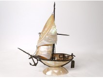 Large mother-of-pearl brass boat sailboat Popular Art XIXth century