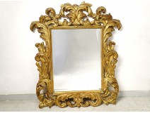 Mirror Italy carved gilded wood foliage beveled glass XIXth century