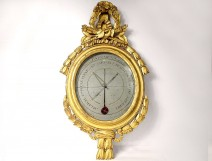 Barometer thermometer Réaumur Louis XVI gilded wood birds Binda XVIII