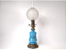 Baccarat blue opaline oil lamp gilt bronze Napoleon III XIXth
