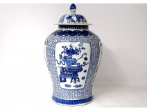 Pot pot covered white-blue Chinese porcelain signed Kangxi Qing