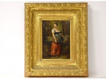 HSP painting Léonard Saurfelt portrait young woman wood bundle forest XIX
