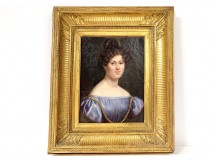 HST portrait Julie Volpelière young woman Empire stuccoed frame 1829 XIXth