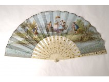 Fan gouache engraved characters gallant flowers Napoleon III nineteenth