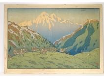 Large color lithograph Henri Rivière landscape mountain herd XIXth