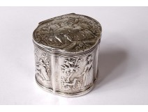 Small solid silver box Holland characters vintage shepherdess 31gr 19th